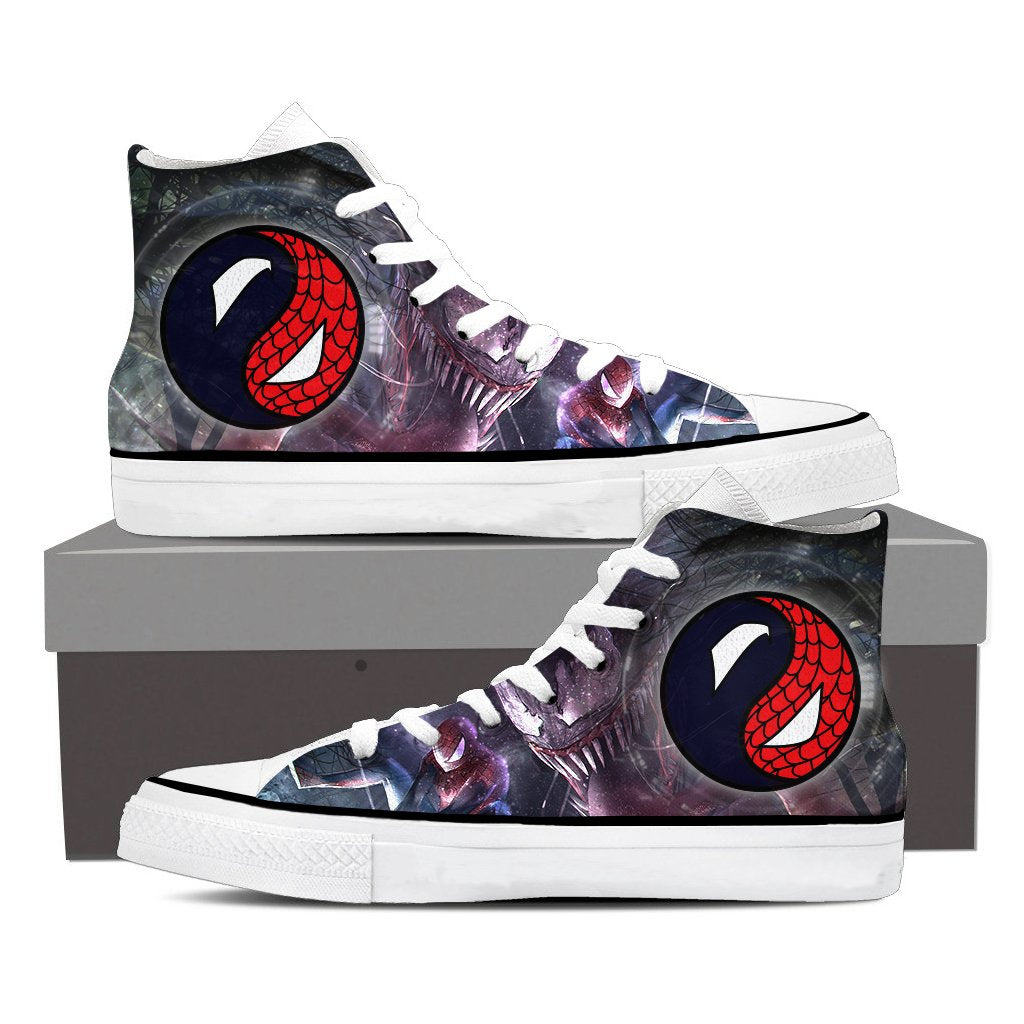 Yinyang Spiderman And Venom High Top Shoes