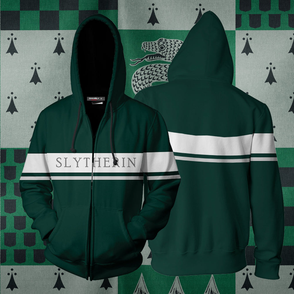 Hogwarts House Slytherin Harry Potter Zip Up Hoodie