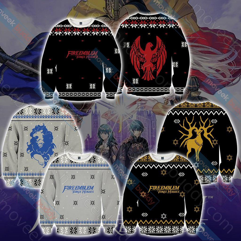 Fire Emblem: Three Houses The Black Eagles Christmas Style Unisex 3D Hoodie