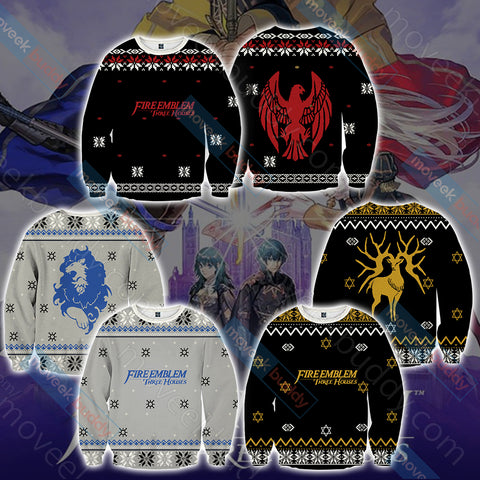 Image of Fire Emblem: Three Houses The Black Eagles Christmas Style Unisex 3D Hoodie