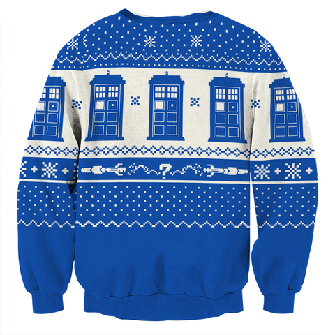 Image of Doctor Who TARDIS Ugly Christmas 3D Sweater