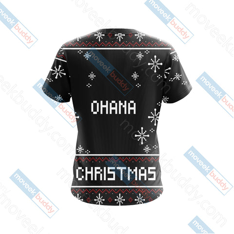 Image of Stitch Ohana Christmas Unisex 3D T-shirt