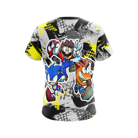 Crash Bandicoot x Mario x Sonic The Hedgehog Unisex 3D T-shirt