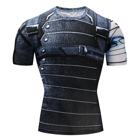 Image of Captain America: The Winter Soldier Bucky Barnes Cosplay Short Sleeve Compression T-shirt