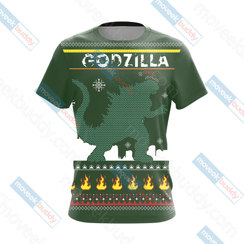 Image of Godzilla King Of The Monsters Knitting Style Unisex 3D T-shirt