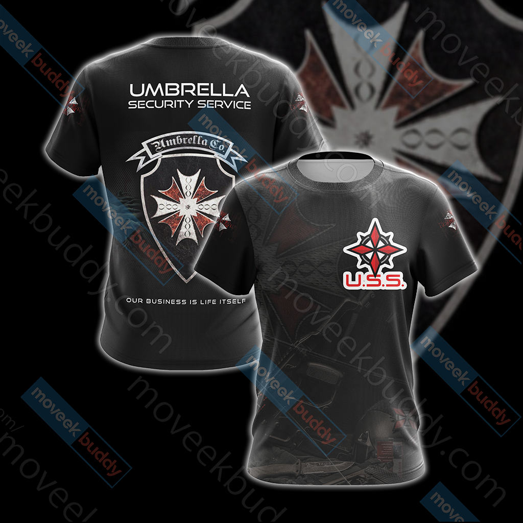 Resident Evil Umbrella Security Service (USS) Unisex 3D T-shirt