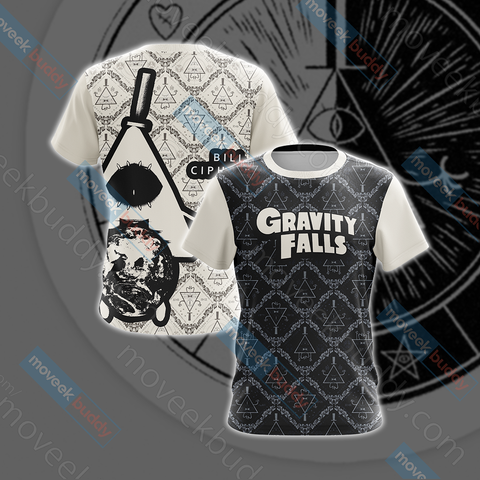 Image of Gravity Falls - Bill Cipher Black And White Unisex 3D T-shirt