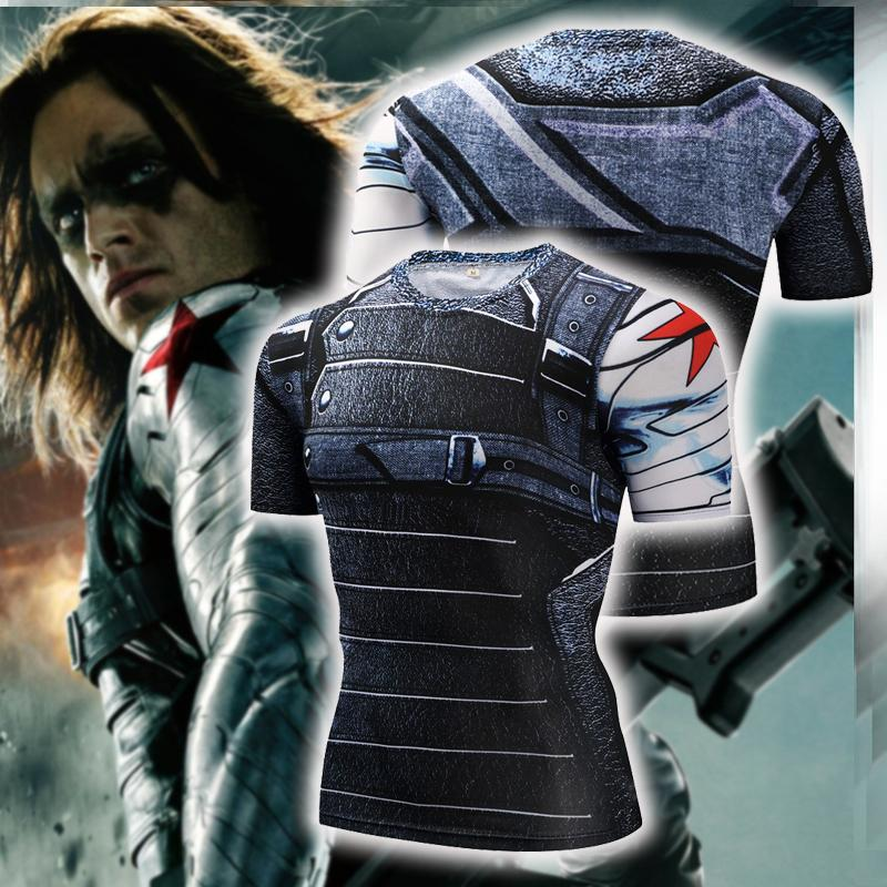 Captain America: The Winter Soldier Bucky Barnes Cosplay Short Sleeve Compression T-shirt