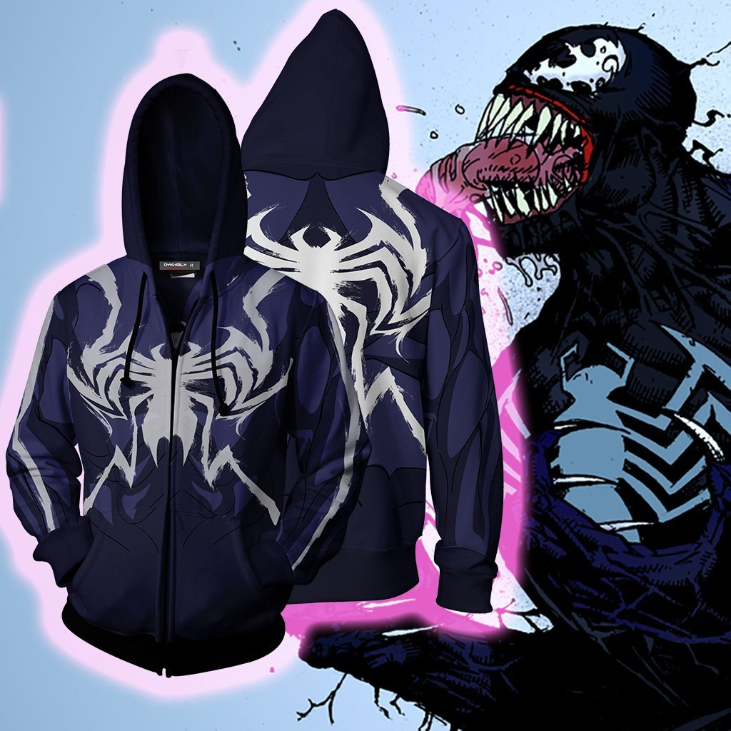 Venom Marvel Cosplay Zip Up Hoodie Jacket
