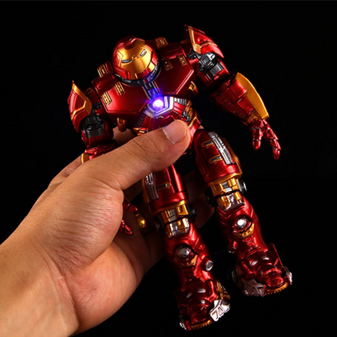 Image of Avengers 2 Iron Man Hulkbuster Armor Joints Movable 18CM Mark With LED Light Action Figure Collection Model Toy
