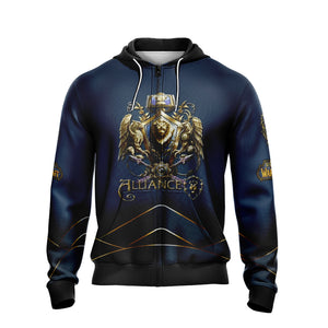 World Of Warcraft - Alliance races crest Unisex Zip Up Hoodie