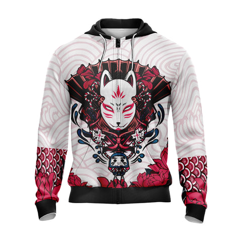 Image of Naruto Kitsune Mask Unisex Zip Up Hoodie