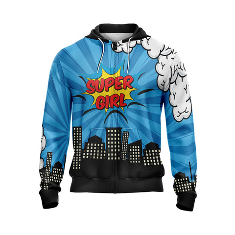 Image of You Choose Who We Want To Be Super Girl Unisex Zip Up Hoodie