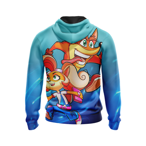 Image of Crash Bandicoot - Crash and Coco Unisex Zip Up Hoodie