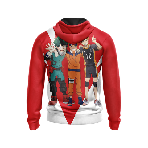 My hero academia x Naruto x Haikyuu Unisex Zip Up Hoodie