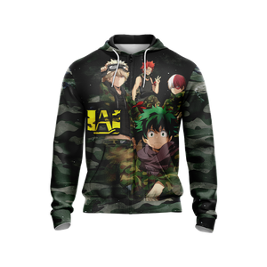 My Hero Academia in Military Uniform Unisex Zip Up Hoodie