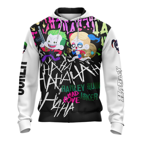 Suicide Squad Harley Quinn And Joker Zip Up Hoodie