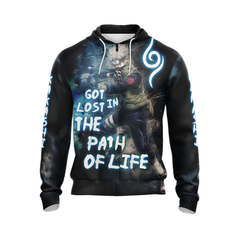 Image of Naruto Kakashi - Got Lost In The Path Of Life Unisex 3D T-shirt Zip Hoodie Pullover Hoodie