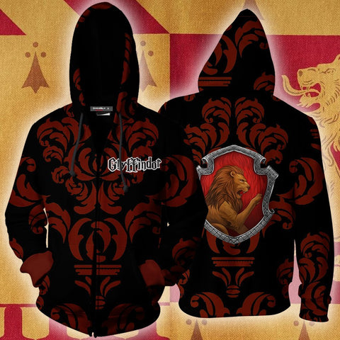 Image of Brave Like A Gryffindor Harry Potter New Collection Zip Up Hoodie