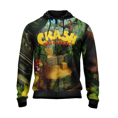 Image of Crash Bandicoot New Style Unisex Zip Up Hoodie