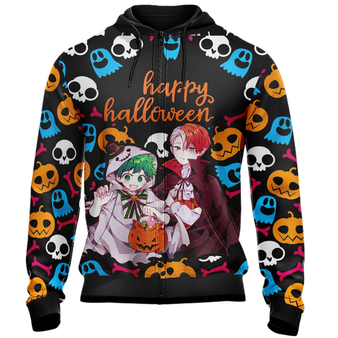 My Hero Academia - Deku and Todoroki Halloween Unisex Zip Up Hoodie