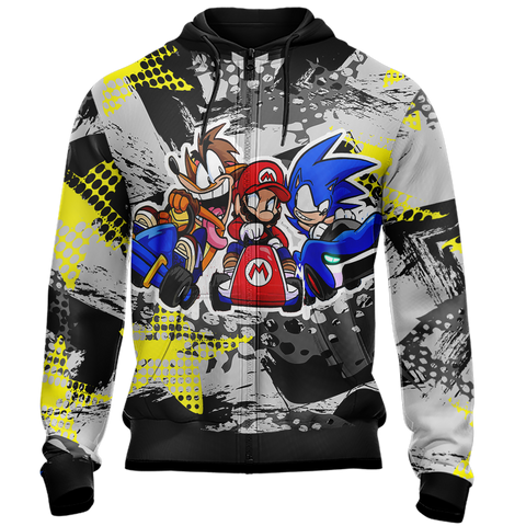 Image of Crash Bandicoot x Mario x Sonic The Hedgehog Unisex Zip Up Hoodie