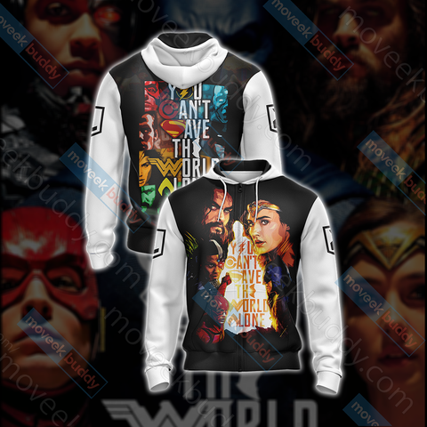 Image of Justice League - You Can't Save The World AloneUnisex Zip Up Hoodie