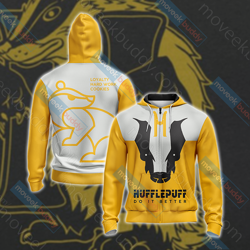 Harry Potter - Hufflepuff Version Wackystyle Unisex Zip Up Hoodie