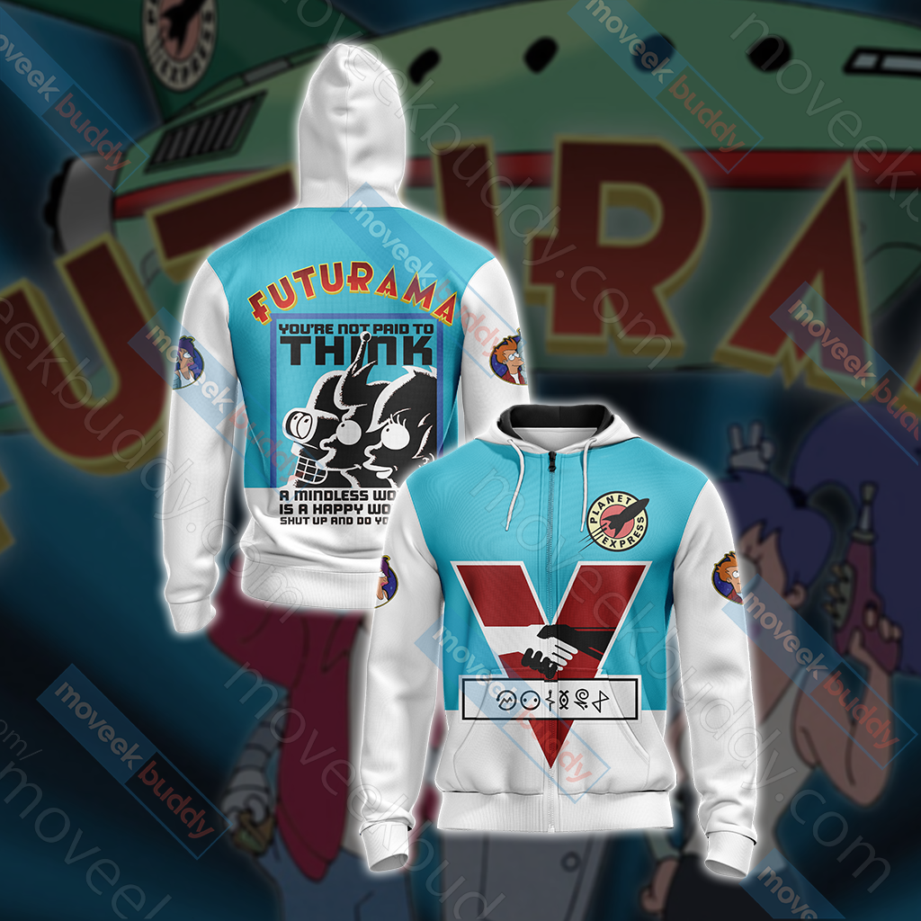 Futurama New Unisex Zip Up Hoodie Jacket