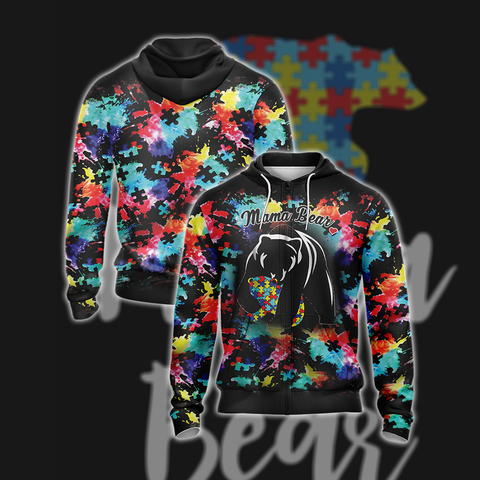 Image of Autism Mama Bear Unisex Zip Up Hoodie