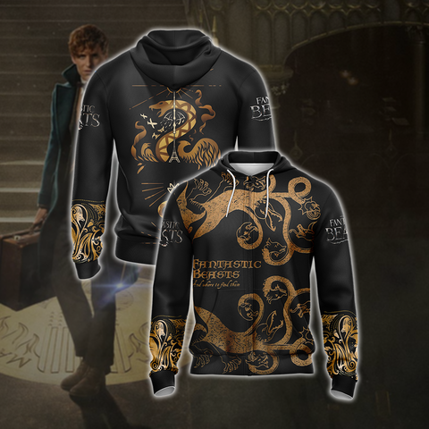 Image of Fantastic Beasts Style Unisex Zip Up Hoodie