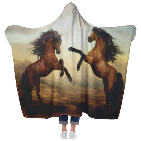 Horses Playing Hooded Blanket
