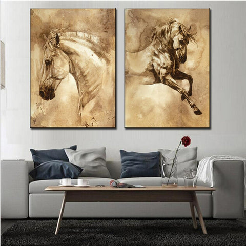 2 Pcs/Set  Horse On Canvas