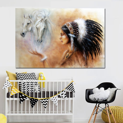 Native American Indian Girl Feathered White Horse Canvas