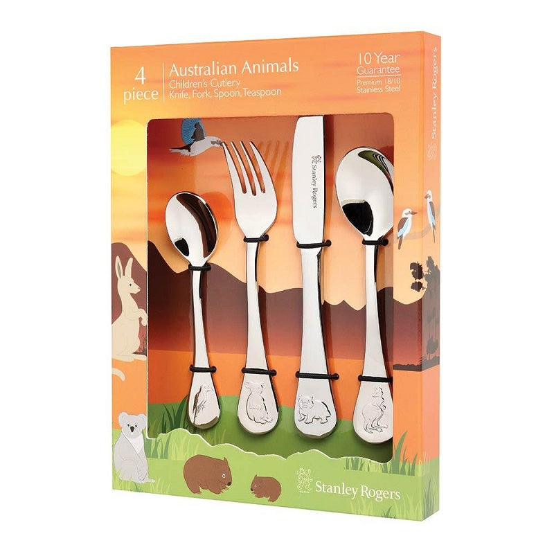 STANLEY RODGERS CHILDRENS AUST ANIMALS CUTLERY SET 4PC