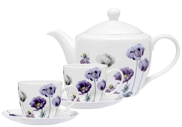 PURPLE POPPIES AWM TEAPOT & TEACUP SET