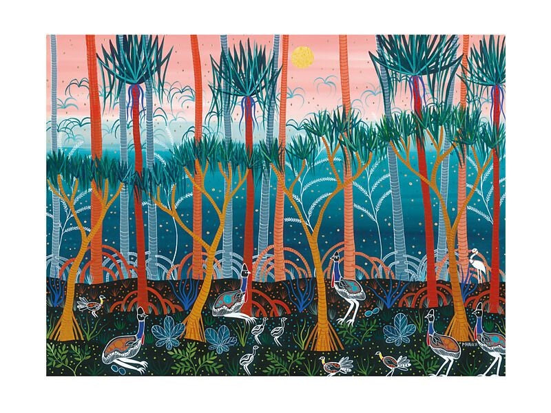 MAXWELL & WILLIAMS MELANIE HAVA JUGAIG-BANA-WABU TEA TOWEL 50X70CM CASSOWARIES