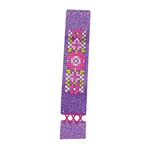 CROSS STITCH BRACELET PURPLE
