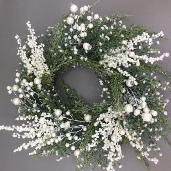 WREATH WHITE BERRY 20IN
