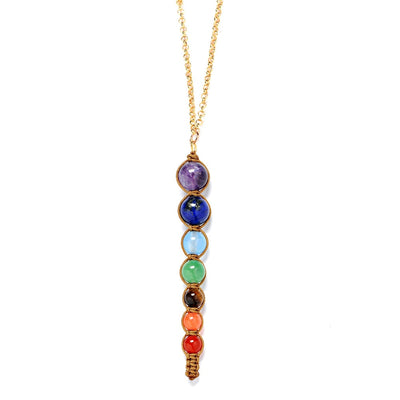 COLLIER EN PERLE 7 CHAKRAS (OR)