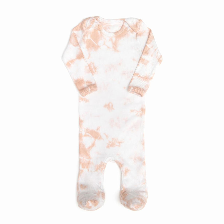Pink Tie Dye Ribbed Footie by Tun Tun
