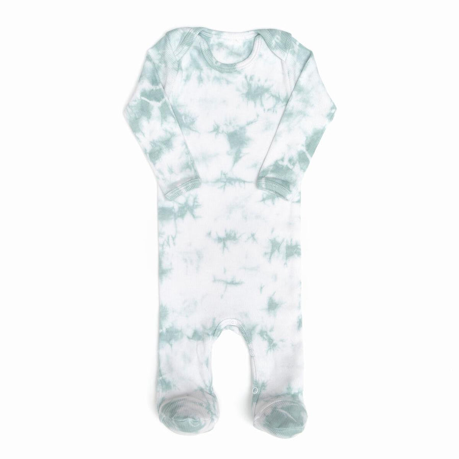 Mint Tie Dye Ribbed Footie by Tun Tun