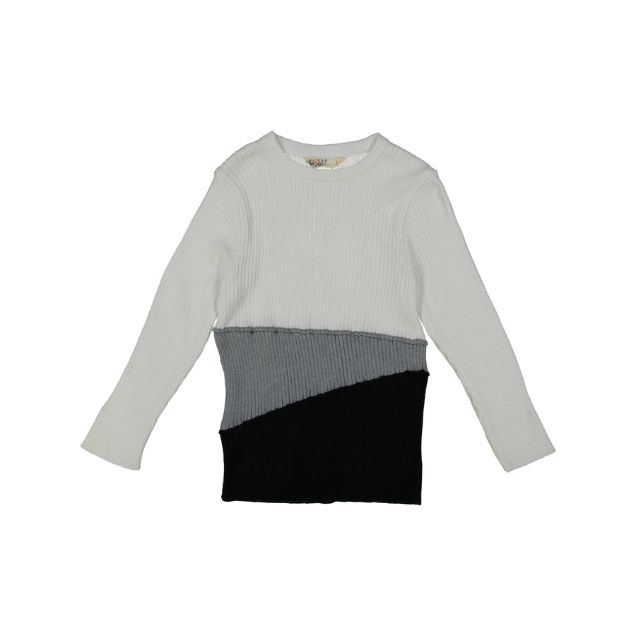 Grey & Black Color Block Sweater by Nove