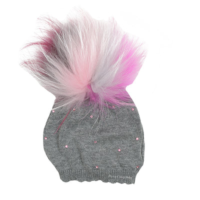 Knit Stone Pom Hat by Bari Lynn