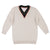 Contrast 3/4 Sleeve V-Neck Sweater by MOTU