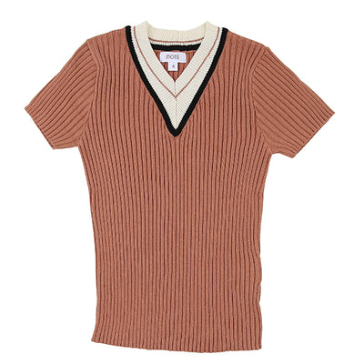 Terra Contrast V-Neck Sweater by MOTU