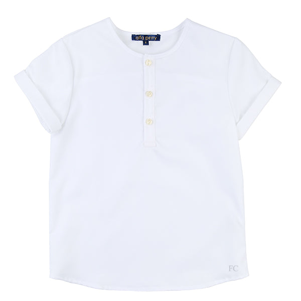 White Mandarin Shirt by Alfa Perry