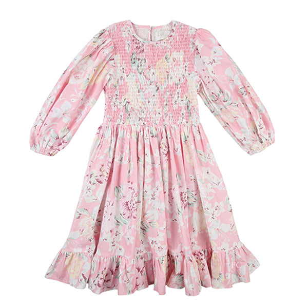 Shirred Rose Print Dress by Petite Amalie