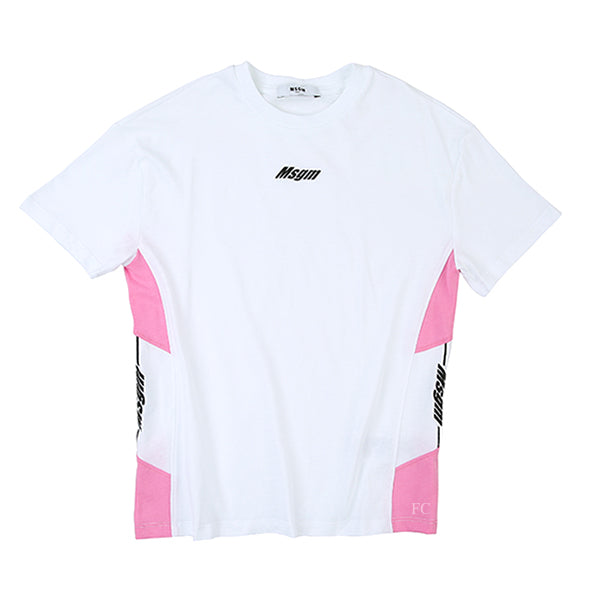 White/Pink Jersey T-Shirt by MSGM