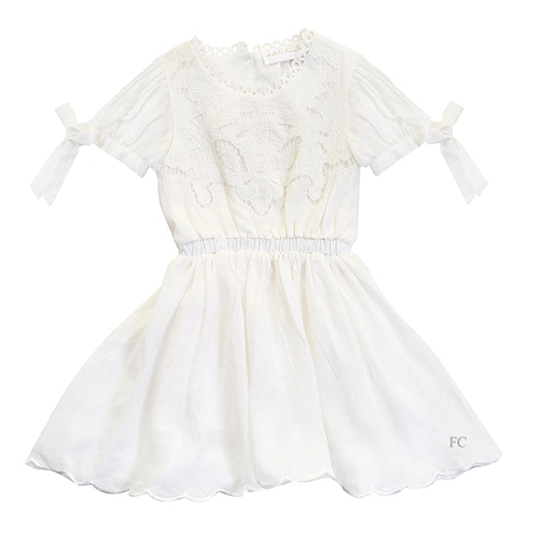 White Flower Cut Out Dress by Petite Amalie